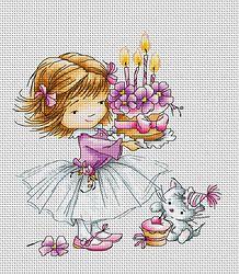 """B1054 Chica con un gatito y un pastel €14.50  Kit completo de punto de cruz """"Luca-S"""" Colores: 25 Medidas: 13.5 x 14.5cm Aida: 16"""