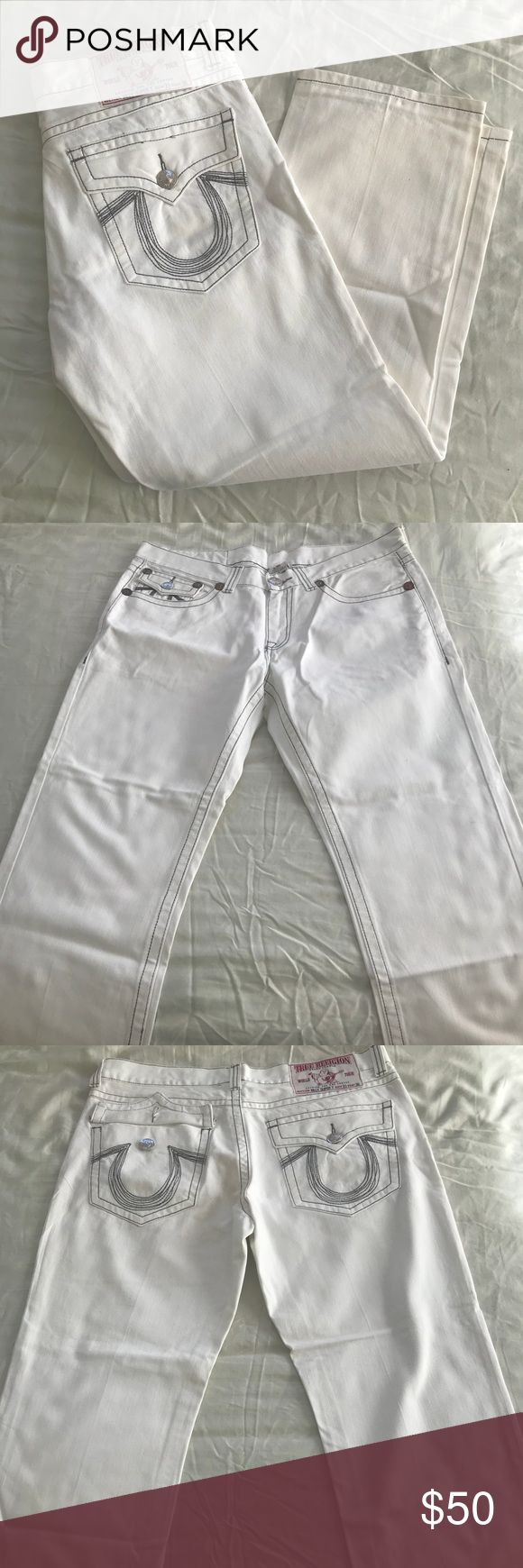White Mens True Religion Jeans Here I have these Authentic Classic White Mens True Religion Jeans. These Jeans are a size 36 and are bootcut. Jeans have been worn twice and have been dry cleaned. These Jeans are free of smell and free stains. Jeans comes with the the classic horseshoe logo with grey stitching. Jeans would be perfect for dressing up with a nice button down shirt to a semi formal or casual event. True Religion Jeans Bootcut