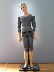 This tall, beautiful blue Santos mannequin is a paper mache composite that stands approximately 37 inche