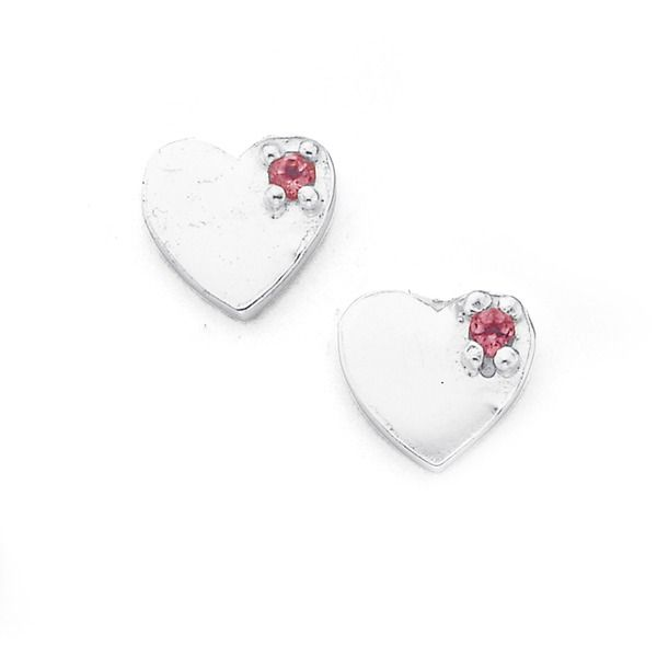 Silver Childs Pink Crystal Heart Studs