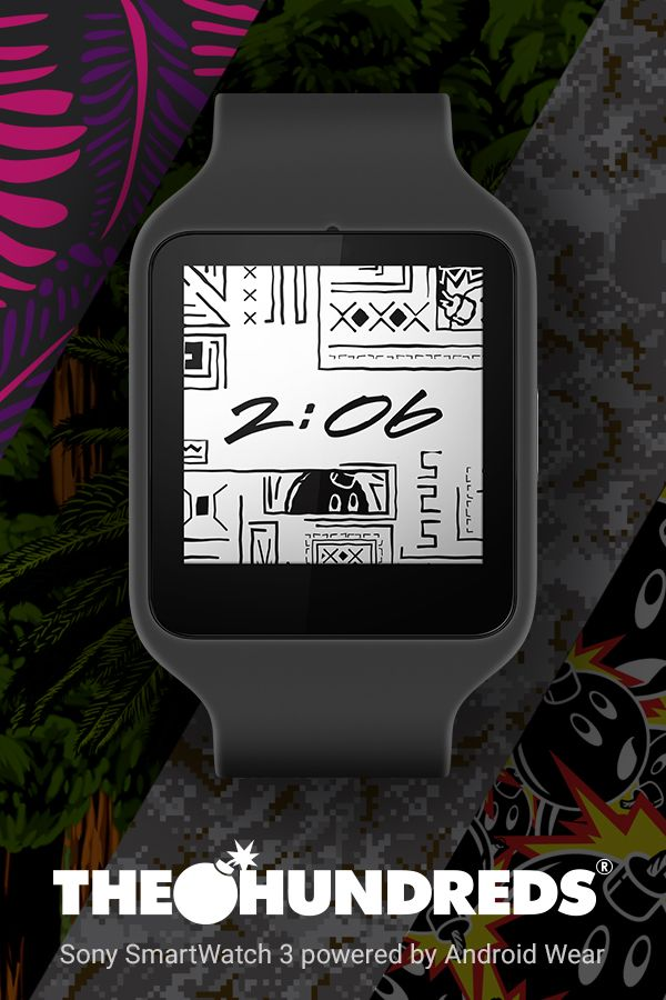 The Hundreds Watch Face for Android Wear. Make your Android Wear watch your own with the unique graphic patterns of The Hundreds. Learn more at www.android.com/wear. Download the watch face at https://play.google.com/store/apps/details?id=wearable.android.breel.com.thehundreds.