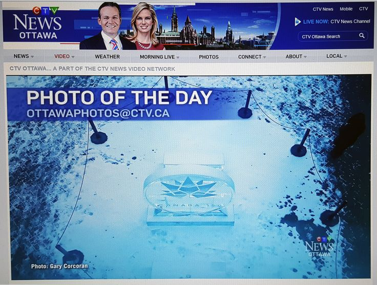 "I entered for the first time, today Jan 30th 2017, the CTV News at 6 Ottawa ""Photo of the day"" contest and one was chosen as the second photo of the day. The photo, as spoken by J.J. Clark, went along with the mentioning of the preparation of Winterlude 2017 festivities as well as Canada's 150th anniversary this year 2017. Jan 30th 2017 News at 6 newscast link: http://ottawa.ctvnews.ca/video?clipId=1044258 Scroll to 41:52 nearing the end of CTV local news at 6 Jan 30th 2017 newscast."