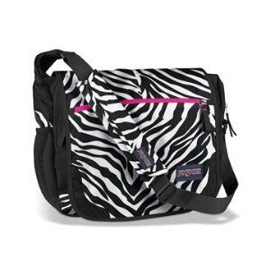 Image result for JanSport Black and White Cosmo Zebra Elefunk Messenger Bag