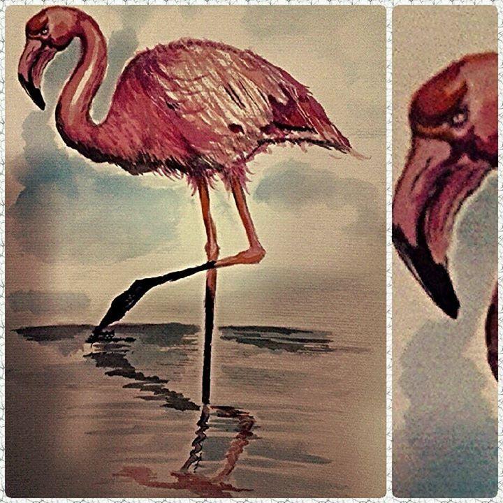 Flamingo #Watercolor By Leo C.