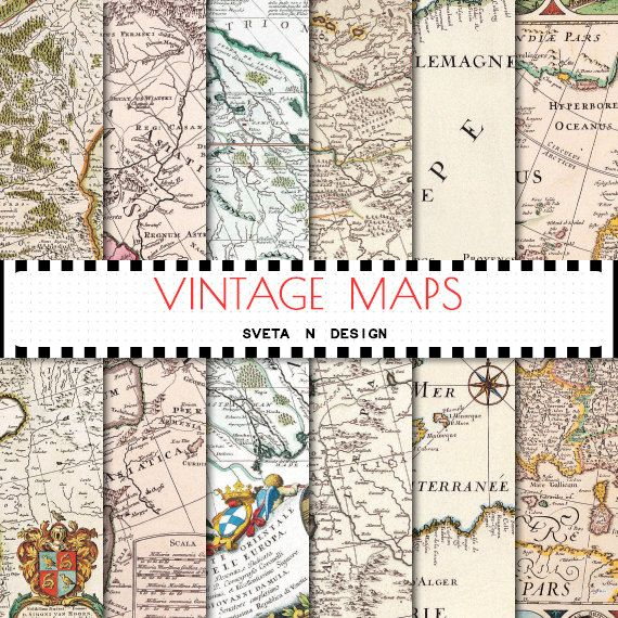 Vintage maps digital paper - antique maps of europe, america and the world for invitations, cardmaking, scrapbooking - set #4