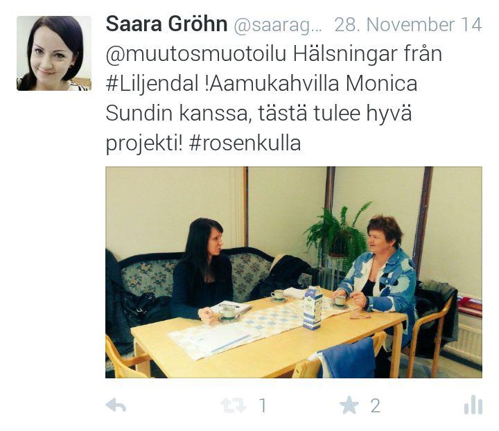 Haastelija - aamukahvilla Loviisa-tiimin kera Loviisan kaupupungin vanhuspalveluiden Monica Sundin kanssa Rosenkullassa
