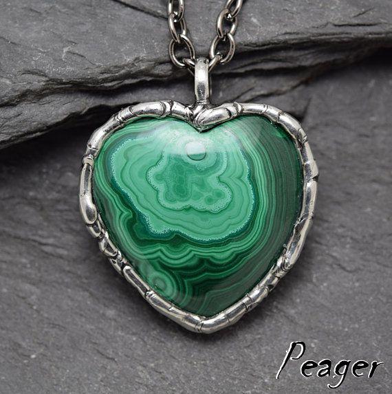 Heart pendantMalachite pendantBohemian pendantrustic