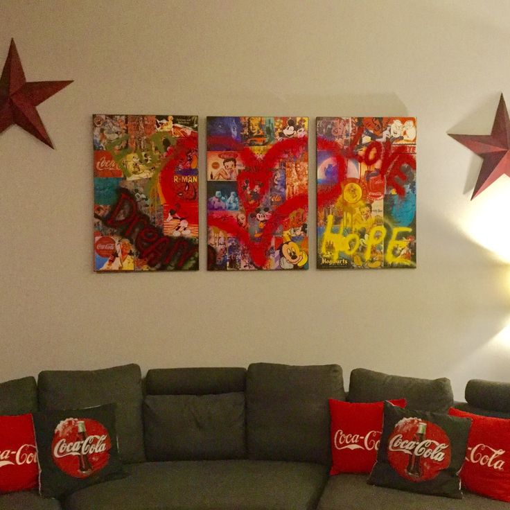 Set Of 3 panels, Beautiful Large Wall Art, Pop Art, Mixed Media, Aerosol and Acrylic Painting on Large Canvas. On the themes of Coca-Cola, Disney World characters and the heroes of Universal Studios.