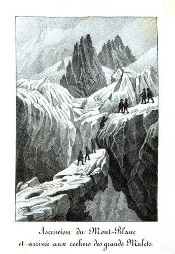 [MONT BLANC]. Souvenirs du Mont-Blanc de Chamonix et des sites remarquables de la route contenant 24 vues et un panorama de la chaine du Mont-Blanc depuis la Flégère. [n.p., n.d., c. 1840]. First edition.  #mountaineering #mountain