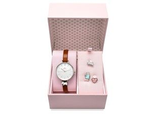 F.Hinds the Jewellers Summer Sale 2017 | Radley RY2379 Stainless Steel Brown Leather Strap Watch With Charms Gift Set - W5172