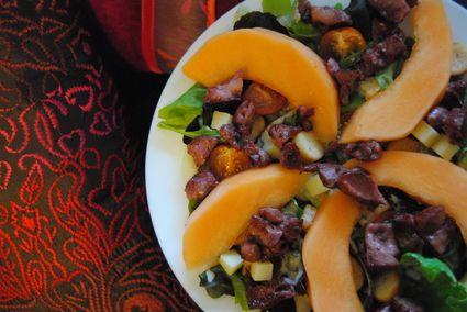 Salade de gésiers, cantal et melon