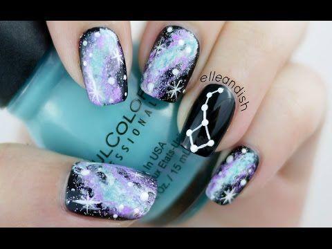 Easy Galaxy Constellation Nail Tutorial - YouTube // elleandish