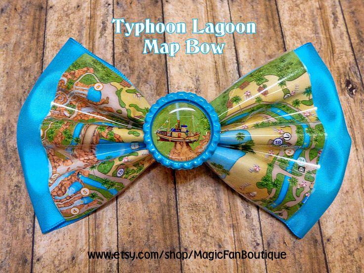 Disney Typhoon Lagoon Map Disney Bow-Walt Disney World Bow-Disney Water Park Hair Bow-Disney Accessories-Disney Barrette by MagicFanBoutique on Etsy