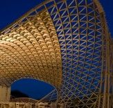 Patio cover for Masseria Ospitale Restaurant in Lecce, Italy, created with parametric modeling.
