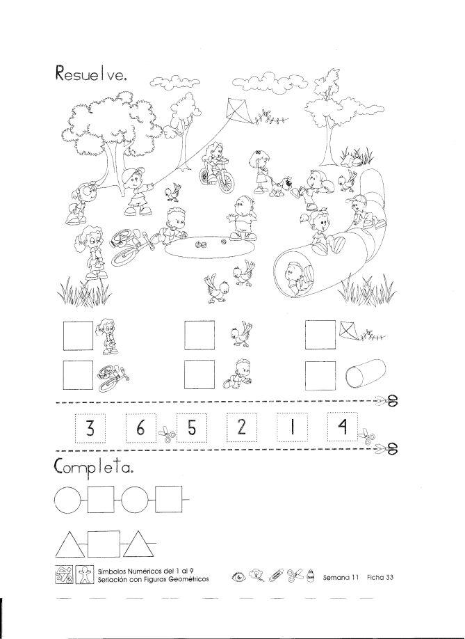 Símbolos numéricos del 1 al 9 seriación con figuras geométricas