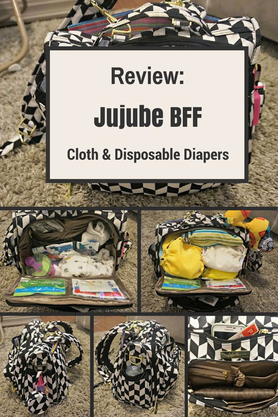 Jujube BFF Diaper Bag Review for both Disposable and Cloth Diapers. Plus how to get a 15% discount on the bag!