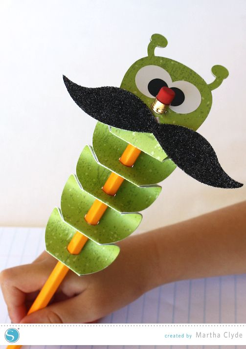 Inchworm Pencil Topper. Easy and fast project to make with your Silhouette. Created by Martha Clyde.