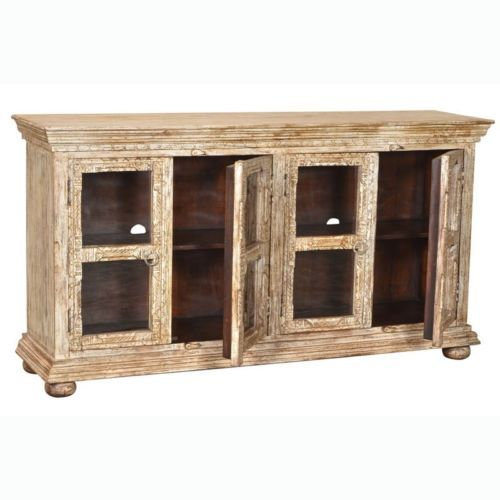 "70"" Hand Carved Mango Wood Glass Display Cabinet Antique White Distressed Rustic- $1,435.00"