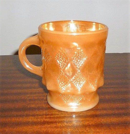 $10     Vintage 1950s Anchor Hocking Fire King Kimberly Peach Lustre Mug / Milk Glass Mug Made in USA / Diamond Pattern Coffee Mug / Oven Proof by V1NTA6EJO