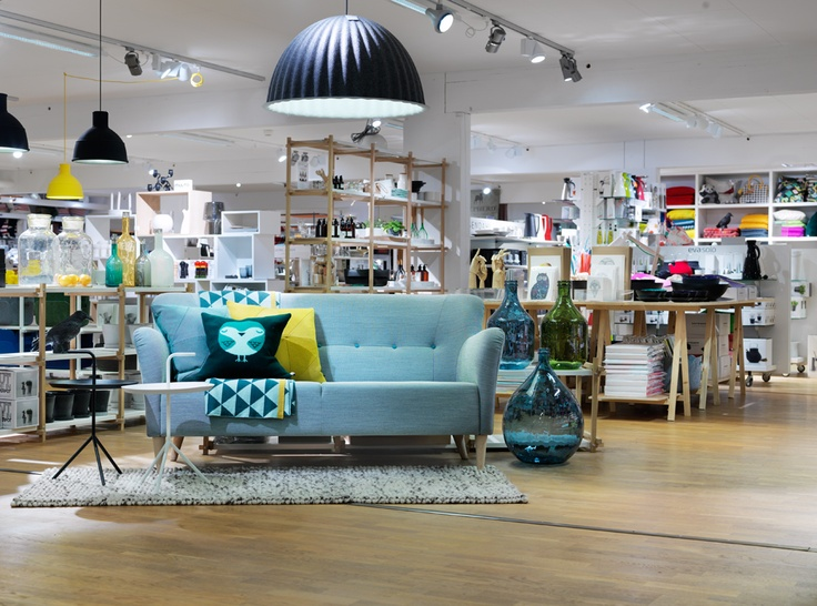 From our store south of Stockholm. On the picture: Nova sofa from Swedesse, lamp Under the Bell from Muuto, cushions from Donna Wilson and Hay, tables Dont Leave Me from Hay #design #stockholm #details #store