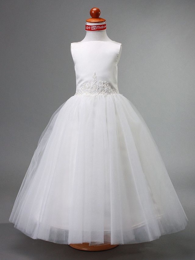 Lanting Bride A-line / Ball Gown / Princess Floor-length Flower Girl Dress - Satin / Tulle Sleeveless Bateau with Beading / Draping - CAD $45.16