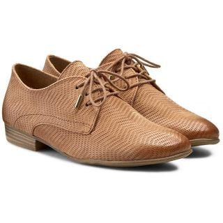 Pantofi dama Oxford fara toc din piele maro