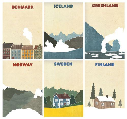 Denmark, Iceland, Greenland, Norway, Sweden, Finland posters #scandinavia