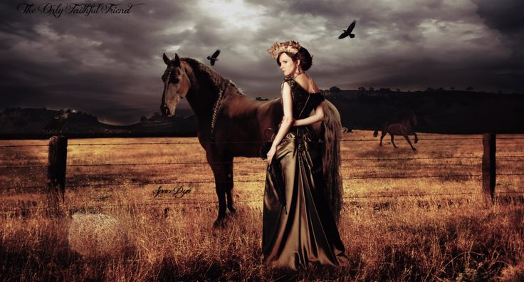 Girl : http://fav.me/d56zoci  Background : http://fav.me/d1te7yp  Horse 1 : http://fav.me/d3ex3lb  Horse 2 : http://fav.me/d1be423  and my own stock.