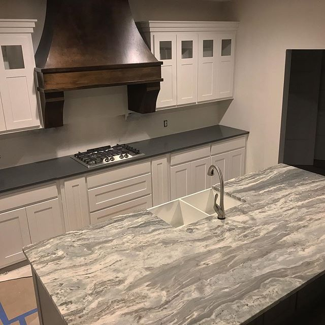 Sharing A Bird S Eye View Of Our Countertops In The Kitchen We Went With A Leathered Textu Brown Granite Countertops Fantasy Brown Granite Leather Granite
