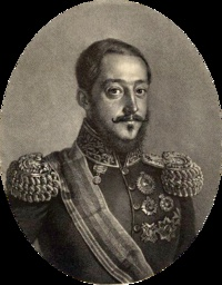 Miguel I (1802 - 1866). King of Portugal from 1828 to 1834. He usurped the throne of his niece, Maria II, but later lost it in 1834. He married Adelaide of Lowenstein-Wertheim-Rosenberg and had seven children.