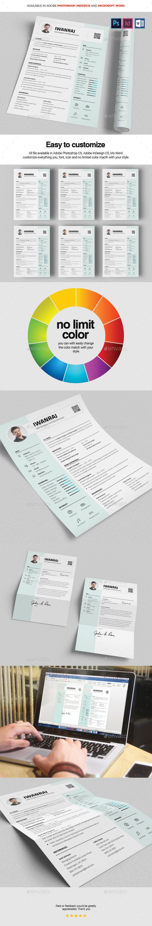 Resume Template PSD, InDesign INDD, MS Word - A4 and US Letter Size