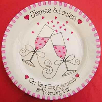 engagement plate | Personalised Engagement Gift Plate | Handpainted engagement present ...