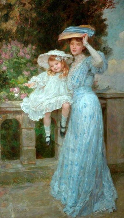 """In this painting """"Butterflies"""" by Frederick Stead, a little girl and her mother clad in a blue floral afternoon gown enjoy the splendid scenery."""