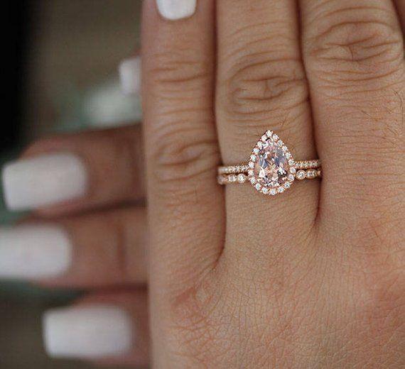 10k Rose Gold Morganite Pear 9x6mm Bridal Ring Set, Diamond Milgrain Ring, Wedding Ring Set, Promise Ring, Engagement Ring, LOW COST RINGS