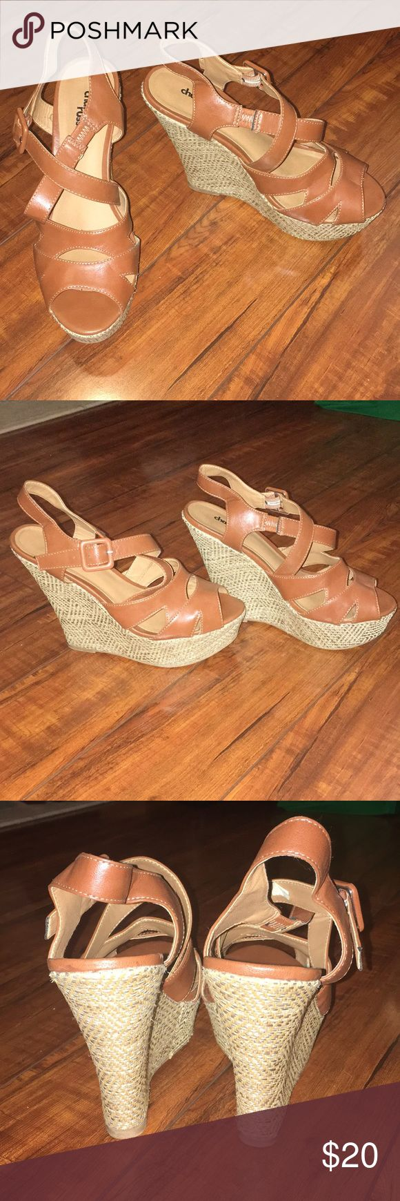 Brown Leather Wedges *LIKE NEW* Wicker pump/wedge. Brown leather straps. Worn once for 3 hours, never worn again. Disinfected! Very comfortable, just too big for me. Accidentally bought an 8 rather than a 7.5. Charlotte Russe Shoes Wedges
