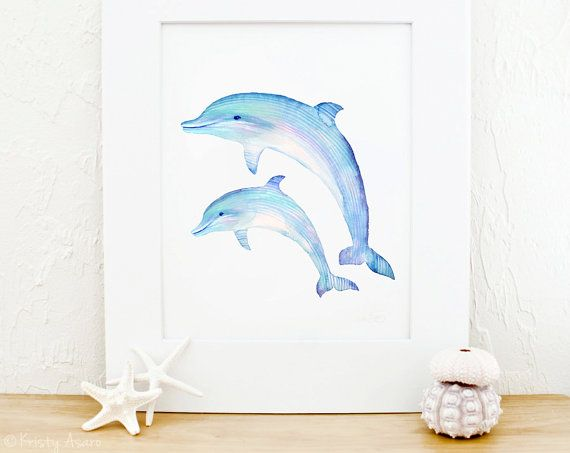 8 x 10 print of my original watercolor painting Dolphins    Printed on 225gsm Matte paper that has a slight texture giving the look and feel of