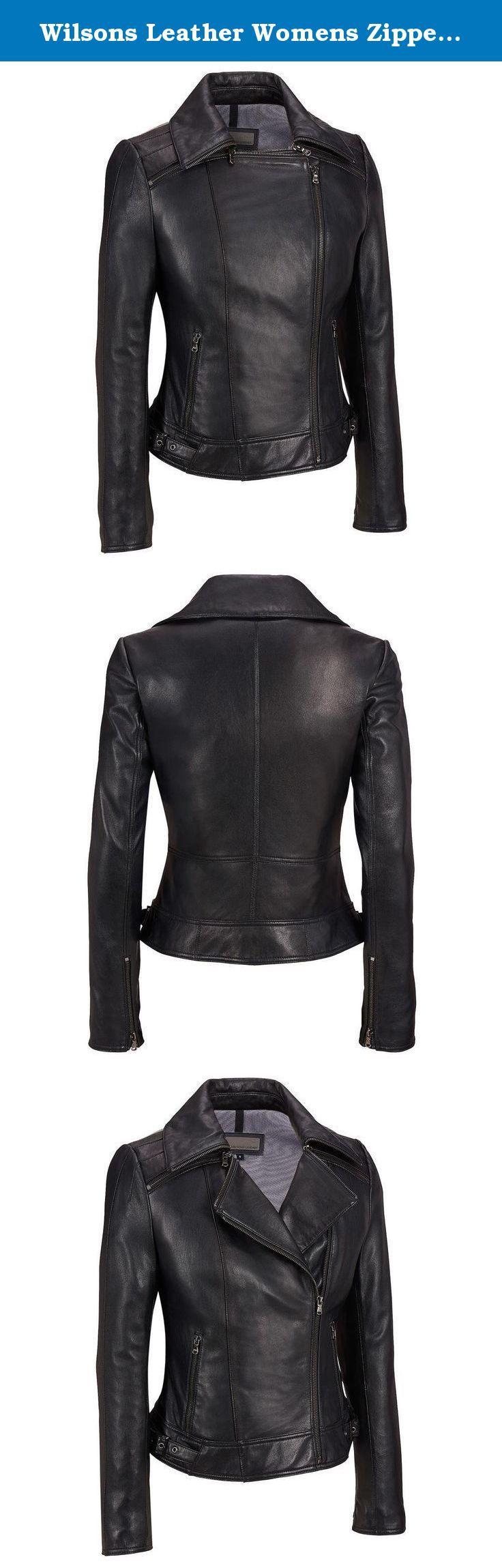 Wilsons Leather Womens Zipper Collar Asymmetric Leather