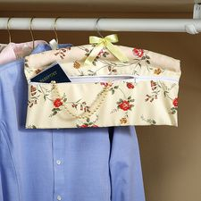 """Closet """"Safe"""". Padded hanger hides money and jewelry in seconds. Simply place items inside the zippered pouch and slip a garment over the hanger. Presto - treasures are hidden!"""