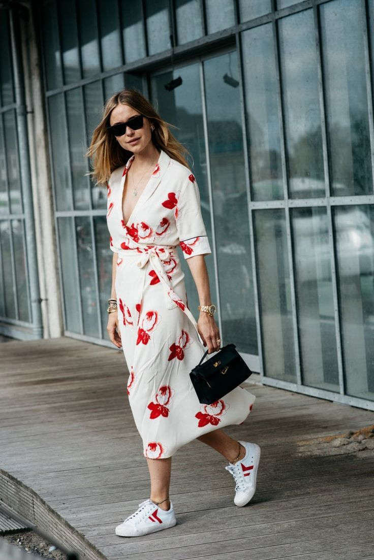 Obsessed with this Ganni wrap dress and sneakers   Good ...