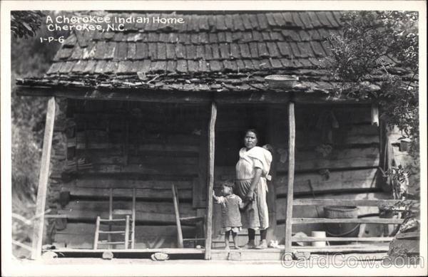 A Cherokee Indian Home, Cherokee, North Carolina.