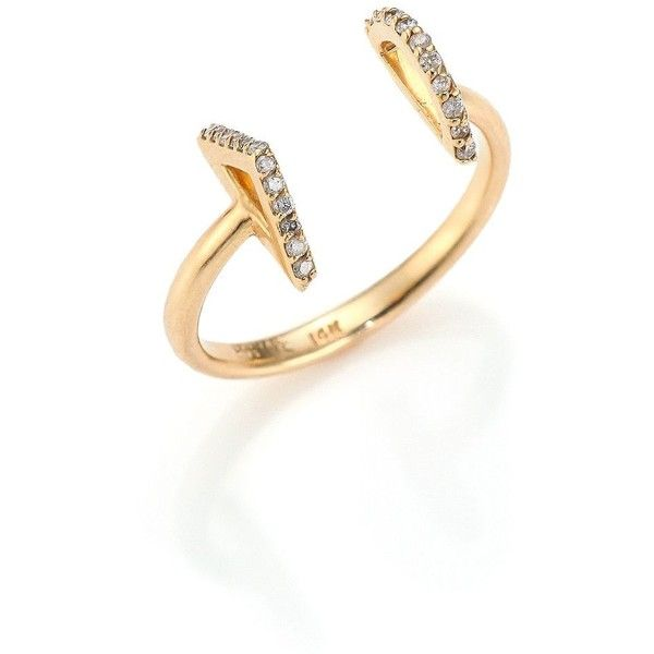 PHYNE by Paige Novick Gigi Diamond & 14K Yellow Gold Open Ring (£370) ❤ liked on Polyvore featuring jewelry, rings, yellow gold diamond rings, gold jewelry, gold ring, diamond anchor ring and anchor ring