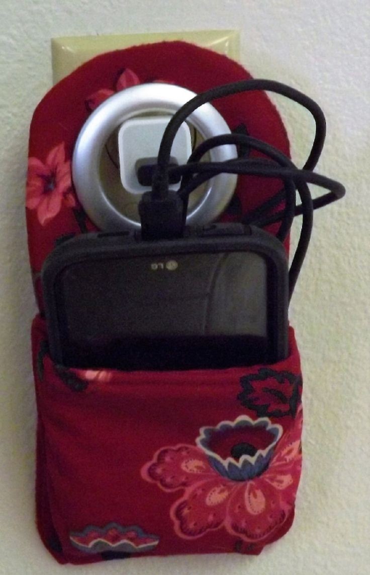 Cell Phone Charging Station Red Asian Flowers Fabric by Amomandhergirl on Etsy