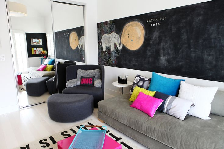 'I wanted it really modern and clean,' says Lana of her bedroom. Pictured here is the adjacent lounge, where the girls hang out together and with friends.