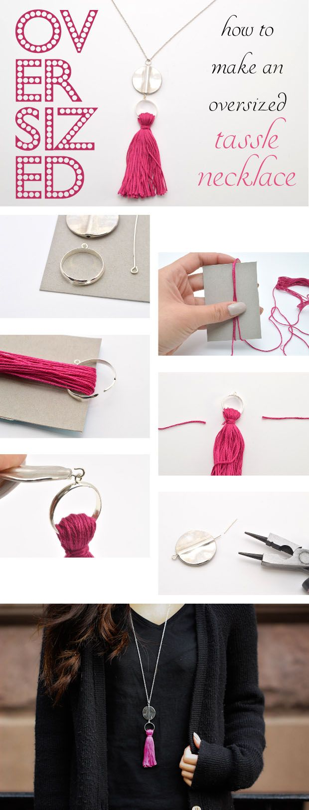 Such a great friendship gift! You can make a half a dozen of these in no time, and customize them to each friend! Great stylish gift idea! http://www.ehow.com/ehow-style/blog/make-an-oversized-tassel-necklace/?utm_source=pinterest.com&utm_medium=referral&utm_content=blog&utm_campaign=fanpage