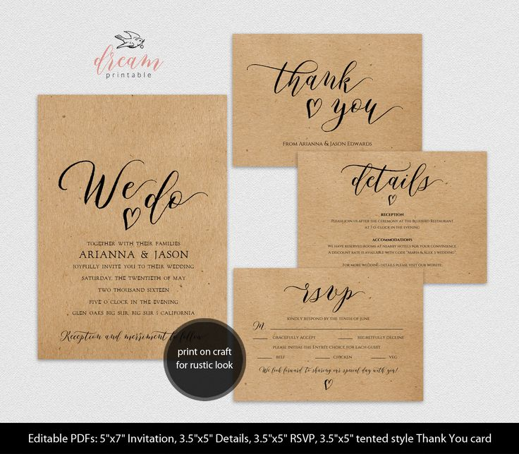 INSTANT DOWNLOAD Editable Pdf Template Set 5x7 We Do Invitation 3.5x5 Details 3.5x5 RSVP 3.5x5 tented style Thank You card Rustic Wedding by DreamPrintable on Etsy