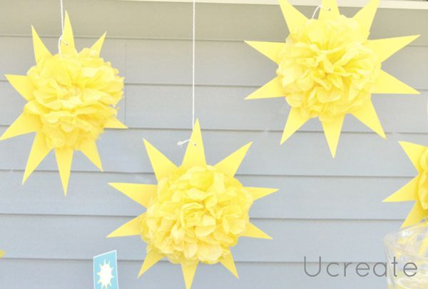You are my sunshine party | Hanging sunburst pom poms | HWTM: *Party Decor + Supplies*
