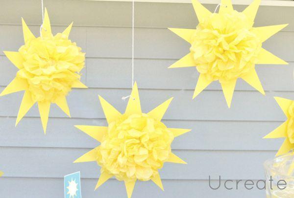You are my sunshine party | Hanging sunburst pom poms | HWTM: *Party Decor + Supplies*