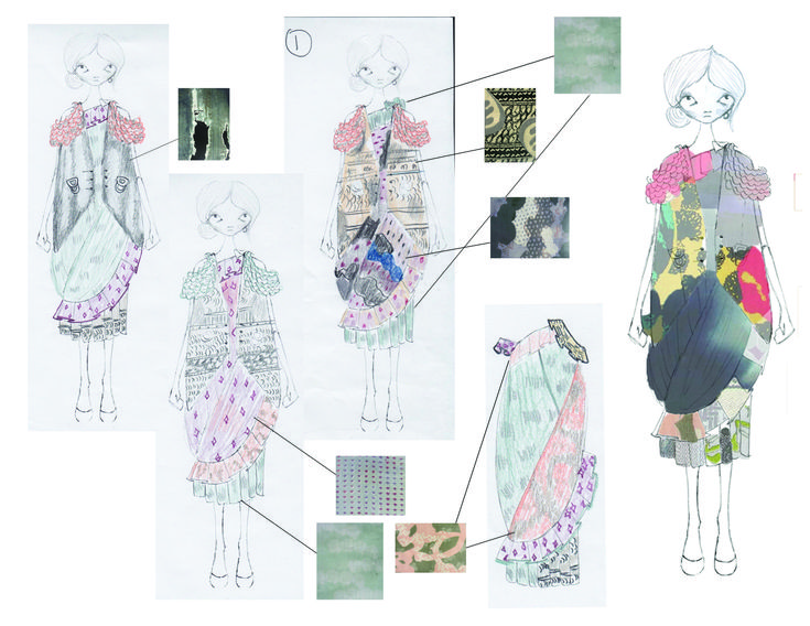 Fashion Sketchbook pages - fashion design drawings with colour & print placement development - dress sketches; fashion portfolio // Emma Erickson