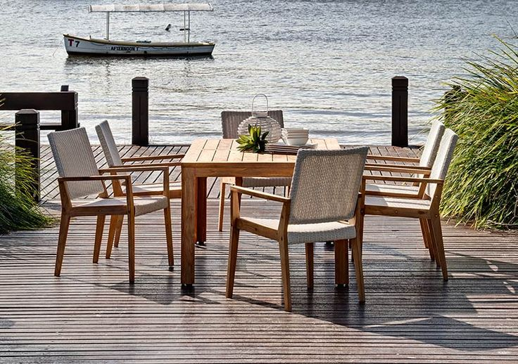 7pce Palmer 1.8 x 1.0m & Winton Wicker Chair Teak/Fantasy White - The Outdoor Furniture Specialists