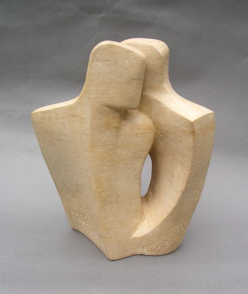 Ancaster stone Stylized People sculpture by artist John Brown titled: 'Duo 1 (stone lovers modern abstract statues)' £1825 #sculpture #art